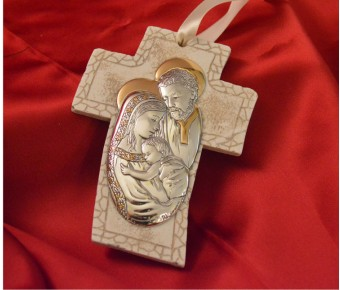 RL4100 Holy Family Hanging Cross Made in Italy