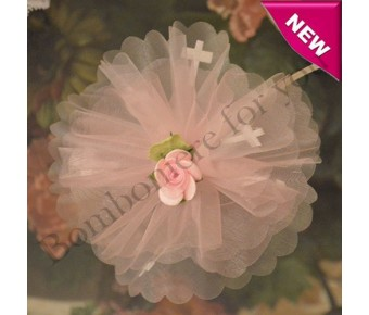 AF200 Organza Circle with Satin Crosses and Confetti