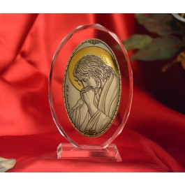 RL1220VO Italian Silver praying Jesus Icon Made in Italy icon on a glass stands