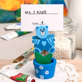 6132 Blue teddy bear/flower pot place card/photo holder