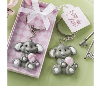 8866 adorable baby elephant with pink design key chain