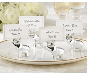 "25082SV ""Lucky in Love"" Silver-Finish Lucky Elephant Place Card/Photo Holder (Set of 4)"