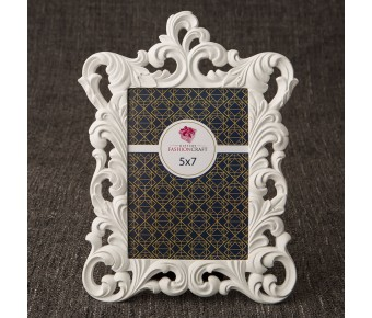 12867 White Baroque 5 x 7 frame from gifts by fashioncraft