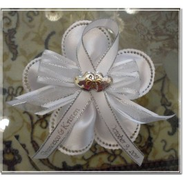 CF13 Italian Confetti Flower with Argento Hearts and Personalized Ribbon