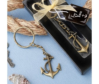 5282 Anchor themed brass color metal key chain