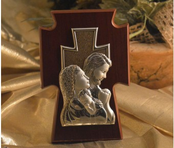 RL1420Italian Silver Holy Family on a wood stand Made in Italy