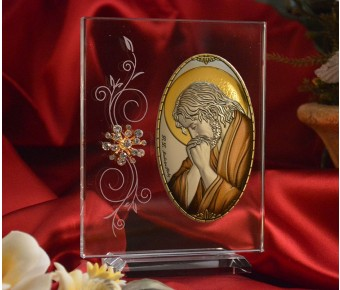 RL1220VX Italian Silver praying Jesus Icon Made in Italy icon on a glass stands