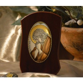 RL785X Italian Silver praying Jesus Icon Made in Italy icon on a wood stands