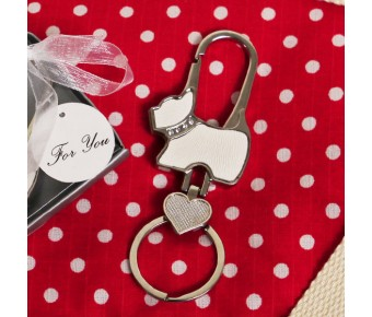 "RB1196 ""Puppy Love"" Dog Shaped Key Chain"