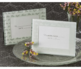 "A53102 ""Live, Love, Laugh…"" Frosted Mini Photo Frame / Place Card Holder (Pack of 4)"