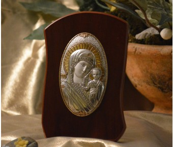 RL780Italian Silver Orthodox Greek Icon Lady Mary Made in Italy icon on a wood stand