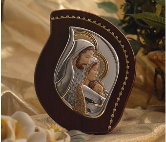 RL2700 Italian Silver Holy Family icon on a wood stand