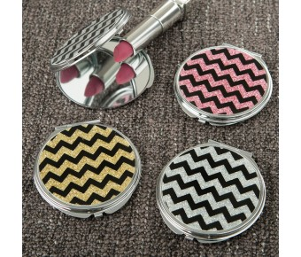12419 Glitter Chevron compact mirror from gifts by fashioncraft
