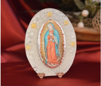 71MUR Made in Italy Our Lady of Guadalupe on a Murano Glass Stand