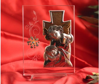 RL1600 Italian Silver Guardian Angel icon on a glass stand