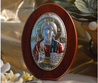 RL190X Italian Silver Greek Orthodox Christ icon with colors on a wood stand