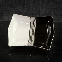 Ceramic Candy Dish White Silver and Black  by myitalianfavors.com