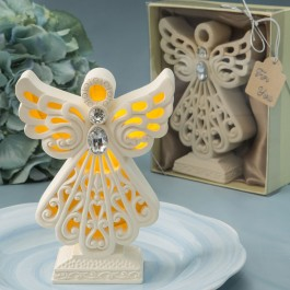 8990 Glowing ivory color angel statue with LED light