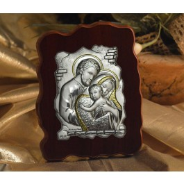 RL1300Italian Silver Icon Holy Family on a wood stand Made in Italy