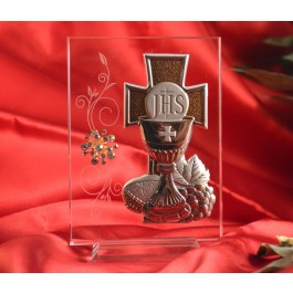 RL1610Italian Silver First Communion icon on a glass stand