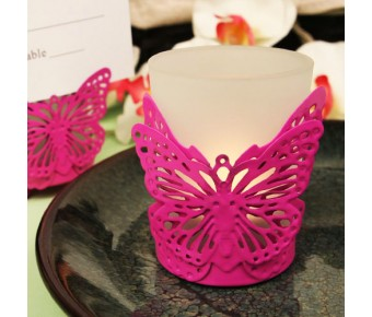 "RB1134 ""Latticed Butterfly"" Pink Butterfly Shaped Steel Candle/Card Holder with Glass Cup and Tea Light Candle"