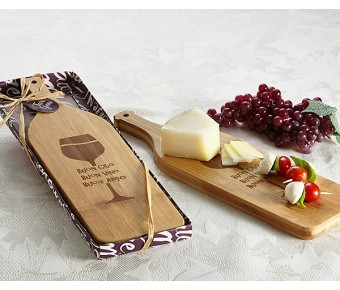 "A35002 ""Buoni Amici"" Wine Bottle Shaped Cheese-Appetizer Board"