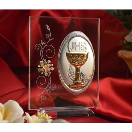 RL110V Italian Silver Chalice icon on a glass stand