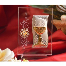 RL410V Italian Silver Chalice icon on a glass stand