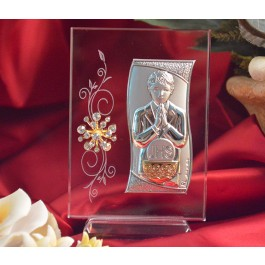 RL430V Italian Silver First Communion Boy icon on a glass stand