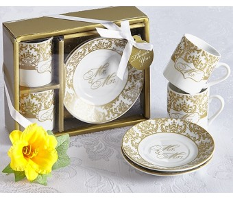 A92026 Mr. & Mrs. Espresso Cup Set in Gold (Set of 2)