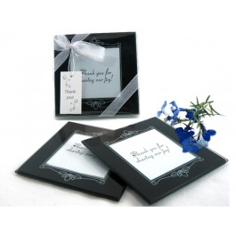 "A51010 ""Memories Forever"" Glass Photo Coasters in Black (Set of 2)"