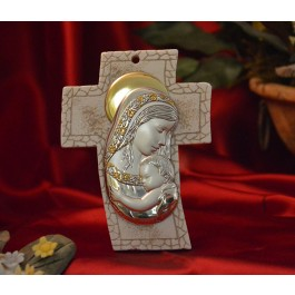 RL4400 Mother and Child Standing Cross Made in Italy