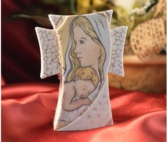 BE15360 Mother And Child Cross Icon On A Marble Dust Texture