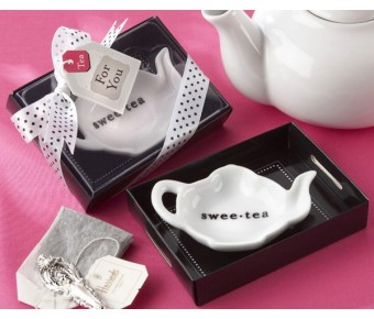"23019WT ""Swee-Tea"" Ceramic Tea-Bag Caddy in Black & White Serving-Tray Gift Box"