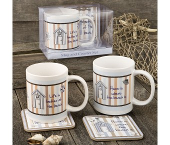 12646 Nautical Mug & Coaster set - 2 assorted Designs from gifts by fashioncraft