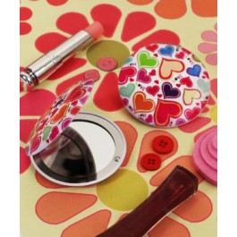 """RB1194 """"Groovy Love"""" Heart Shaped Compact Mirror"""