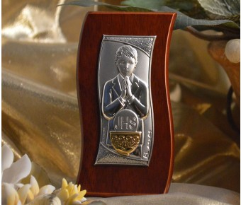 RL430 Italian Silver First Communion Boy icon on a wood stand