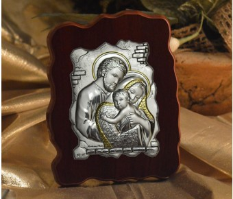 RL1300 Italian Silver Icon Holy Family on a wood stand Made in Italy