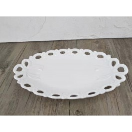 LC217 - White Ceramic oval Platter with decor  by myitalianfavors.com