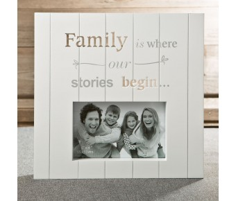 12177 White MDF laser cut Family 6 x 4 frame from gifts by fashioncraft