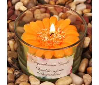 "RB7851OG ""Colorful Chrysanthemums"" Orange Colored Flower Shaped Scented Candle"