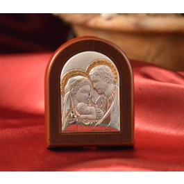 RL920 Italian Silver Holy Family icon on a wood stand