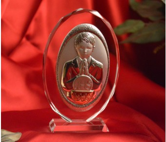 RL130VO Italian Silver First Communion Boy icon on a glass stand