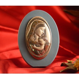 RL1740 Italian Silver Mother and Child Icon Made in Italy icon on a wood stand (Baby Blue)