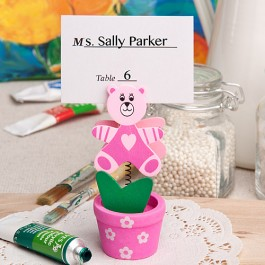 6133 Pink teddy bear/flower pot place card/photo holder
