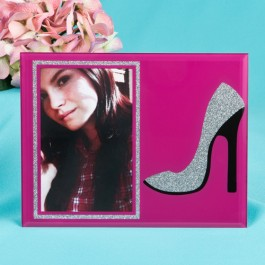 12133 Stunning High Heel shoe with silver glitter glass frame 4x6