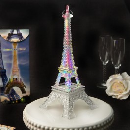 2301 Eiffel tower centerpiece in clear acrylic plastic with colorful LED lights
