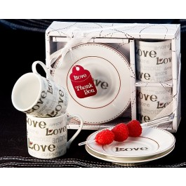 "A92015 ""Language of Love"" Espresso Cup Favor Set"