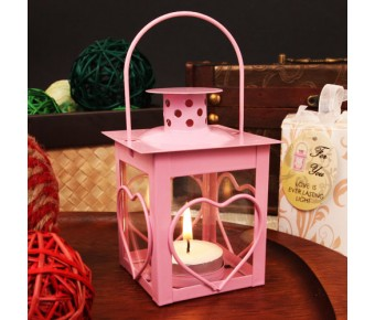 "RB1141 ""Heart Light"" Glass Windowed Heart Adorned Pink Steel Lantern with Tea Light Candle"