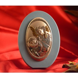 RL1710 Italian Silver Guardian Angel Icon Made in Italy icon on a wood stand (Baby Blue)